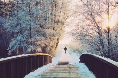 Eine Person läuft alleine auf einem Weg zwischen Bäumen